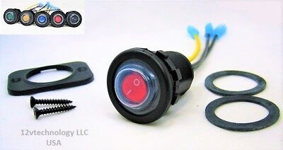 Double Sealed Waterproof Red Led Rocker 12v Toggle Switch Spst Marine Round Ip66
