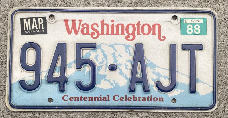 Natural 1988 Washington Passenger Vehicle License Plate.  Correct For 1987-1990!