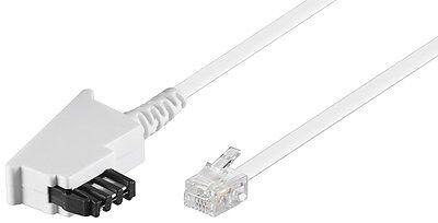Telefon Kabel 10 m weiß TAE F Stecker > RJ11 Stecker universal Belegung 10,0m
