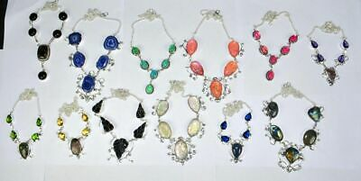 Druzy & Mix Gemstone 925 sterling silver Overlay Handmade Necklace Lot 5pcs BN-4