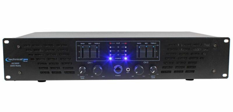 Technical Pro AX3000 3000 Watt 2 Channel 2U DJ Power Amplifier w/ 3 Band EQ