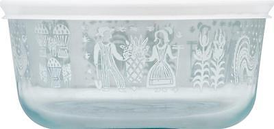 PYREX 4 Cup AMISH BUTTERPRINT Glass Storage Bowl WHITE Rooster Wheat Harvest NEW