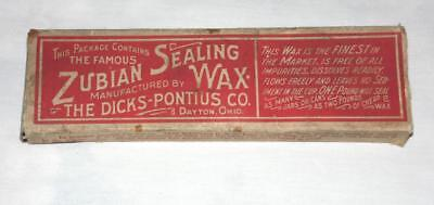 Zubian Sealing Wax The Dicks Pontus Co. Dayton Ohio Vintage Box & Wax  Free SH