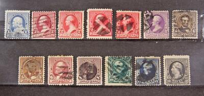 U.S. # 219 to 228 Inc 219d 220a 220c Am Bank Note Set 13 Stamps Used Cv$174 smu