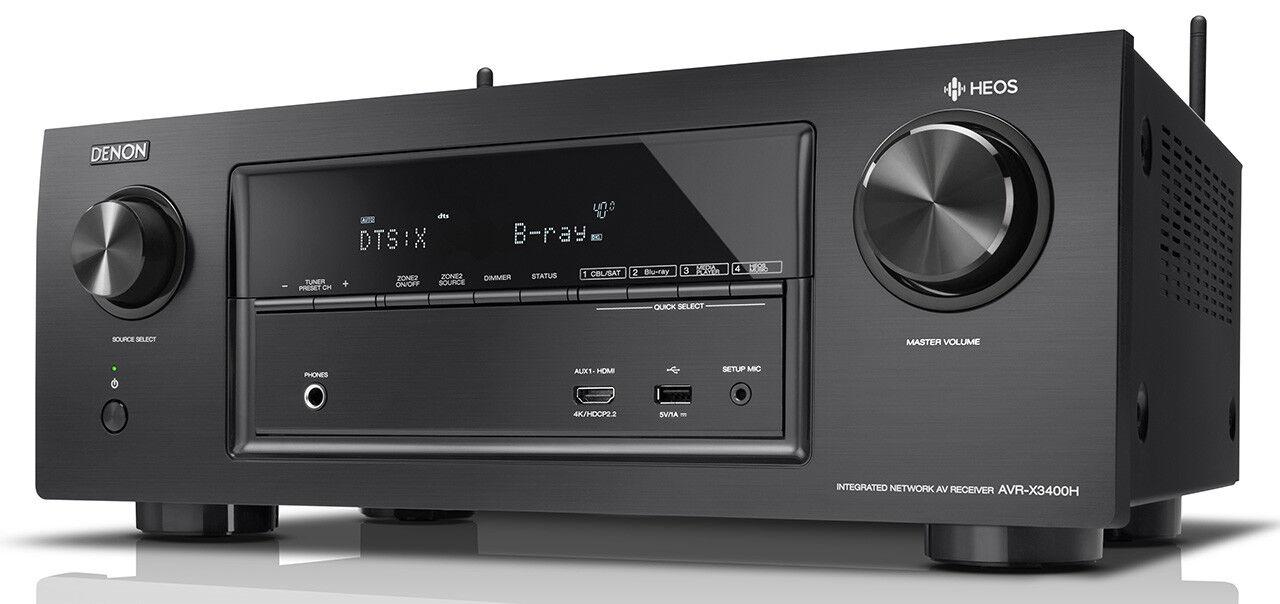 DENON AVR-X3400H NEU Schwarz 7 x 180Watt  7.2 AV-Receiver AVR-X 3400 Heos, Atmos