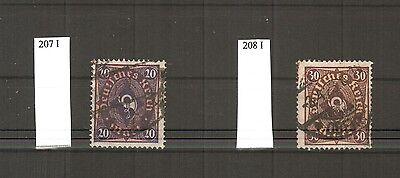 H18839 Deutsches Reich Mi. Nr. 207 I  + 208 I  gestempelt  geprüft BPP