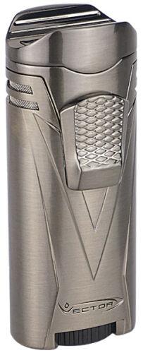 Gunmetal Satin Vector Ironquad Quad Flame Jet Torch Cigar Butane Lighter - 9310