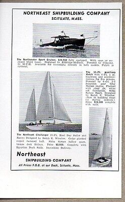 1948 Print Ad Northeaster Sports Cruiser Boats & Challenger Sailboat Scituate,MA