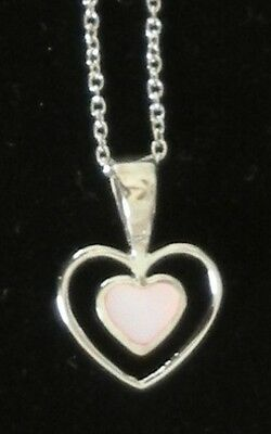 Genuine Krementz Mother Of Pearl Pendant With 925 Sterling Silver Chain