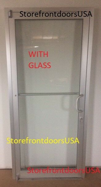 GLASS Storefront Door RH offset pivot 3X7 clear anodized w/ GLASS & Closer