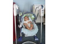 Various baby items: car seats, rocker swing, play mat, Moses basket, tomee tippee steriliser