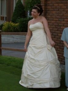 Angelina Faccenda champagne raw silk bridal gown. One of a kind!