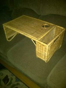 Vintage wicker bed tray with side slot and cup holder