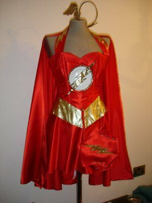 FLASH  corset costume fancy dress  custom made to measure including cape ()