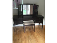 STAG Minstrel 5 drawer dressing table with STAG triple curved mirror & STAG stool
