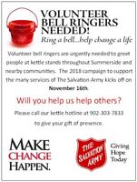 Volunteers needed for The Salvation Army Christmas Kettles