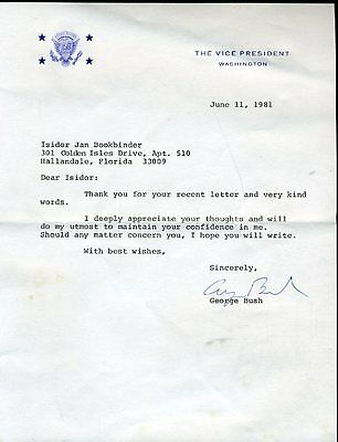 George H W Bush Jsa Certified Signed 1981 Letter Autograph Authentic
