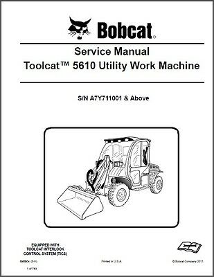 Bobcat Toolcat 5610 Utility Work Machine Service Repair Manual On A Cd