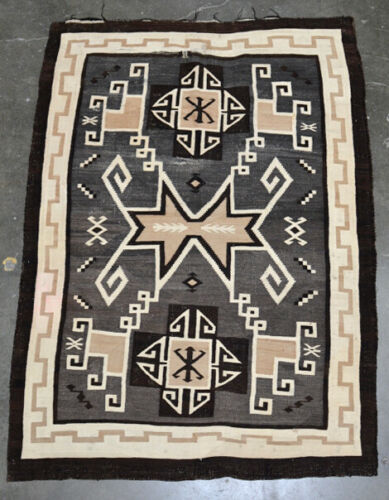 """Navajo Rug, Two Gray Hills, C. 1925 73"""" x 51"""" Master Weaver Mary Yanabah Curley"""