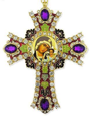 Madonna & Child Jesus Purple Stones Jeweled Russian Icon Wall Cross Wow 6