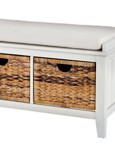 Bench - White with Wicker Storage Drawers and Cushion