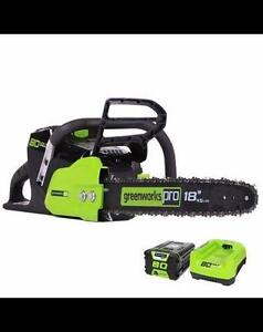 Greenworks 80V Cordless Electric Chainsaw, 18-in USED IN GREAT SHAPE CALL 905-822-7000
