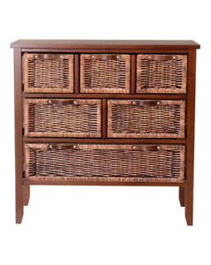 Large wicker chest with 6 drawers dark
