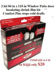 2 kit 84 in x 110 in  Window Patio door Insulating shrink film kit Comfort Plus stops cold drafts