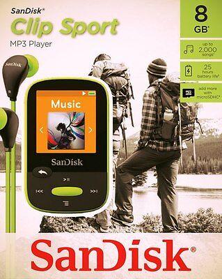 SanDisk Sansa Clip Sport 8 GB MP3 Player FM Radio SD Slot-Lemon green (Sansa Clip Sport)