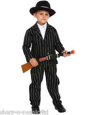 Boys Childs 1920s Gangster Gangsta Mafia Bugsy Malone Fancy Dress Costume Outfit