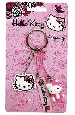 ♥ Hello Kitty Pink Roses 3er Schlüsselanhänger Taschenanhänger Anhänger NEU ♥