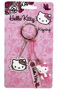 3er Schlüsselanhänger Hello Kitty Pink Roses Kittykopf Taschenanhänger Anhänger