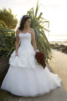 Off White Wedding Dress, lace up back, veil, underskirt and hoop