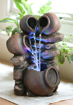 Jug Pot Water Feature Fountain Tiered Cascade Waterfall With LED Lights Indoor