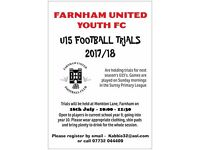 U15 FOOTBALL TRIALS - FARNHAM UNITED YOUTH