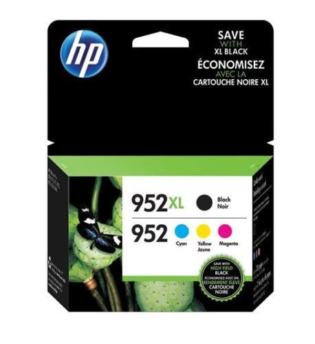 HP 952XL Black & 952 Color Ink Combo  Pack of 4 Exp 2021+