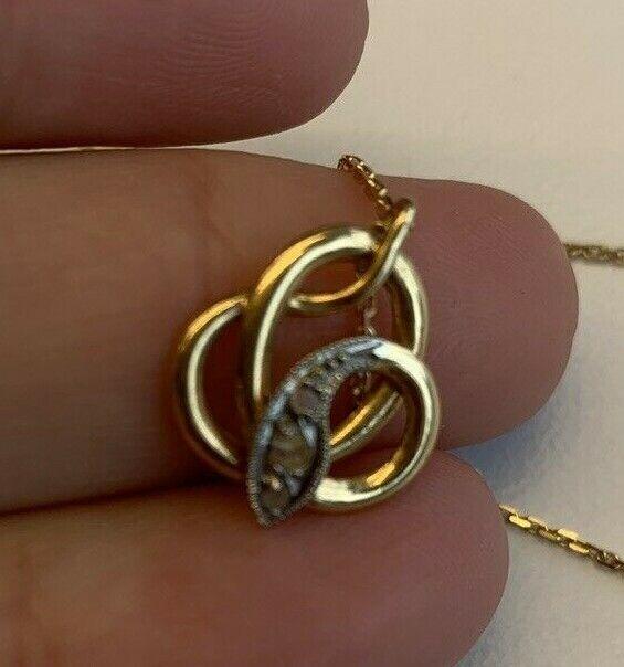 Antique Rose Cut Diamond Mini Snake Pendant -14k