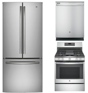 Fridge, Dishwasher and Stove Set, Stainless Steel, GE