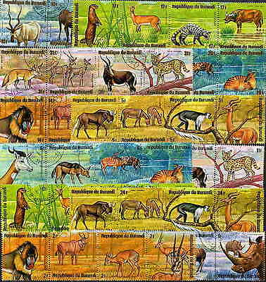 BURUNDI 1975 AFRICAN ANIMALS SET OF 48 STAMPS COMPLETE