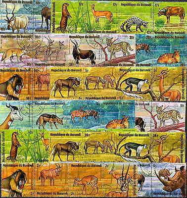 BURUNDI 1975 AFRICAN ANIMALS SET OF 48 STAMPS COMPLETE!