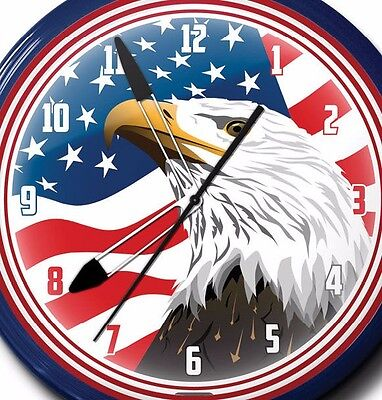 American Eagle Neon Clock Hand Made In USA 20 Inch Red White -