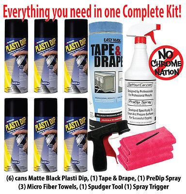 Kit 6 Six Cans Performix Plasti Dip Matte Black Spray Wheel Emblem Grill Trim