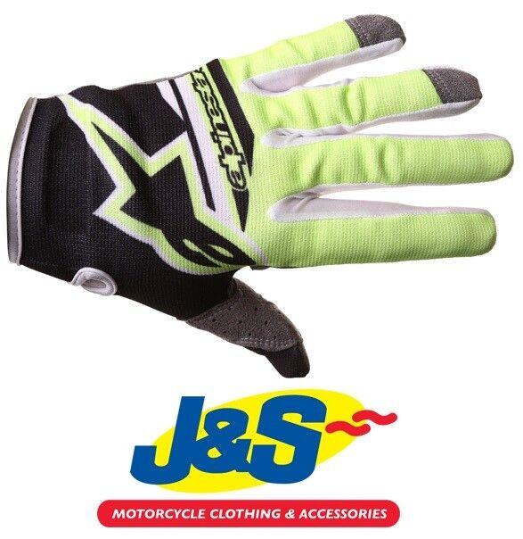 Alpinestars Radar Flight MX Gloves Motocross Moto-X Off-Road Black White J/&S