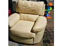 Leather cream electric recliner