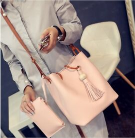 19 x FASHION LADIES LEATHER HANDBAGS WOMEN TOTE BUCKET BAG SET WITH SMALL WALLET
