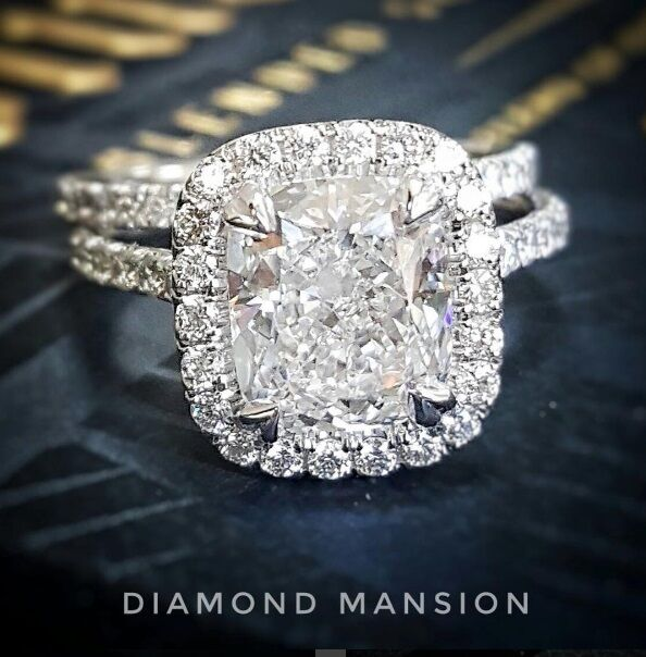 2.10ctw Natural Cushion Halo Pave Diamond Engagement Bridal Set - GIA Certified