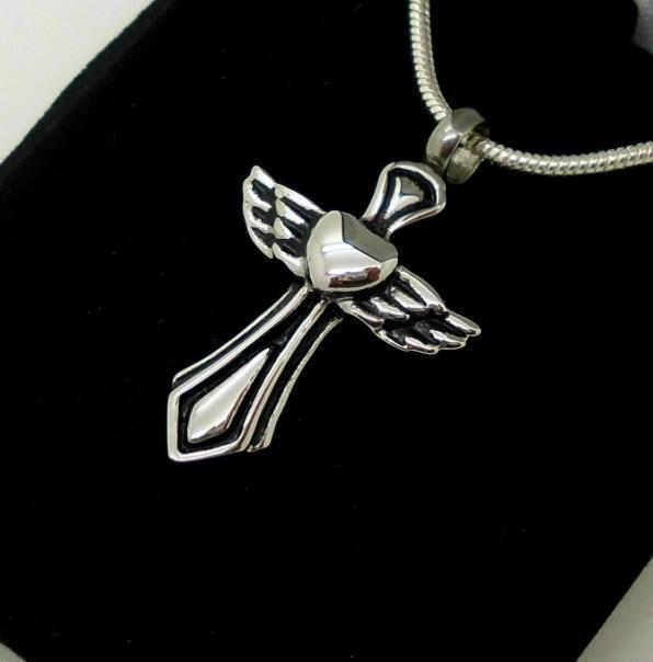 Silver Angelic Cross Memorial Heart Wings Cremation Keepsake Funeral Urn Pendant