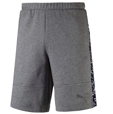 New Mens PUMA Cotton Sweat Shorts Pants Sports Gym Summer Knee Length - Grey