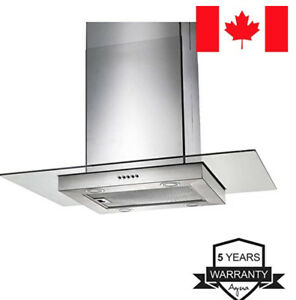 Wall Mount Range Hood Square w Glass Stainless Steel 30 Inch