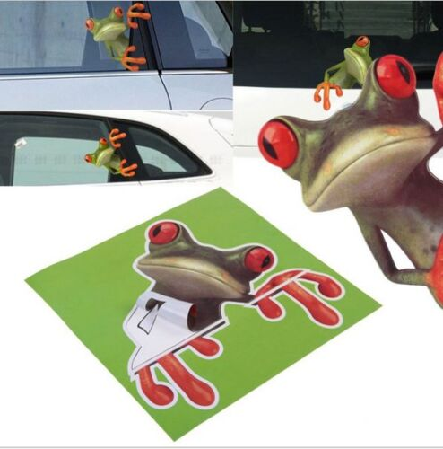 3d Stereo Cute Green Frog Funny Car Toilet Decal Room Wall